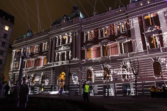 Igra svetla na fasadi Narodnog muzeja