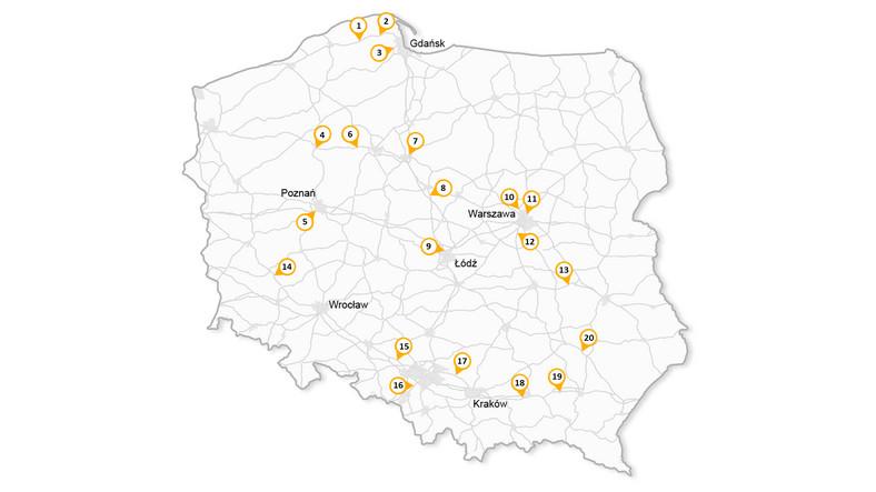 Mapa rozmieszczenia rejestratorów przejazdu na czerwonym świetle