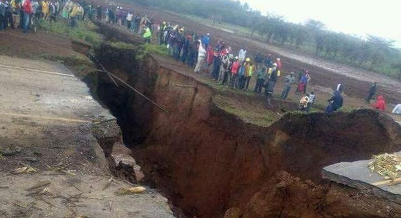 Section of Narok-Mai Mahiu Road that sunk in March 2018