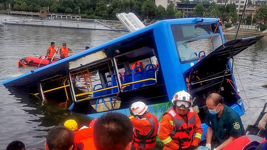 Chiny: miejsce wypadku autobusu