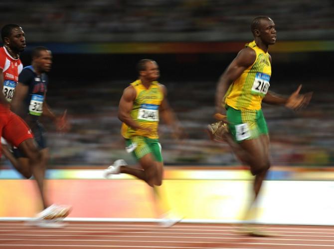 Bolt 2008. na Olimpijadi u Kini gde je na trci od 100 metra osvojio zlato