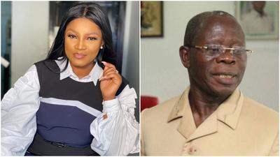 Nollywood actress Omotola Jalade Ekeinde and politician Adams Oshiomole [Instagram/RealOmosexy] [TheSun]