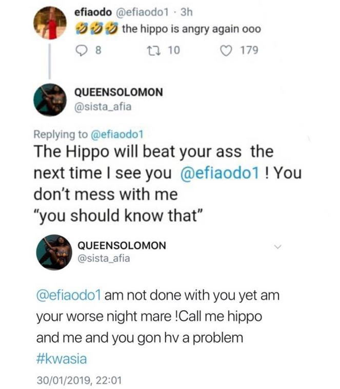 Sista Afia and Efia Odo in twitter brawl