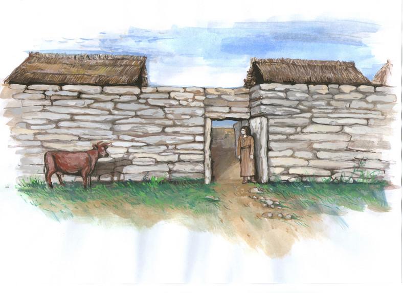 Wizualizacja wyglądu osady na Górze Zyndrama, ok. 1750-1700 r. p.n.e. (reprodukcja ze zbiorów M. Przybyły)