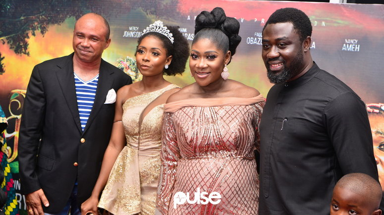 L-R: The Legend of Inikpi co-stars, Paul Obazele, and Nancy Ameh; Mercy Johnson-Okojie, and her husband, Prince Odi Okojie, on the red carpet for the film premiere on Sunday, January 19, 2020 [PULSE]