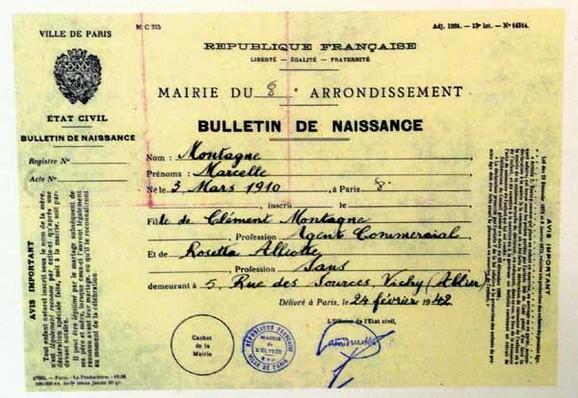 Krštenica na ime Marsel Montanj