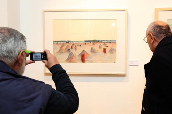 Radomir Damnjanović Damnjan, sa otvaranja izložbe u Arte galeriji