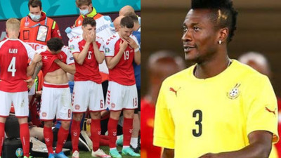Asamoah Gyan sends well wishes to Christian Eriksen after Danish star's collapse