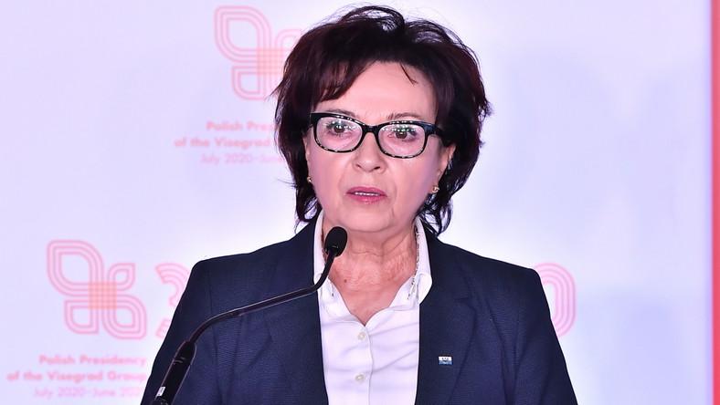 Spotkanie przewodniczących parlamentów państw Grupy Wyszehradzkiej. Marszałek Sejmu RP Elżbieta Witek podczas wspólnej konferencji prasowej