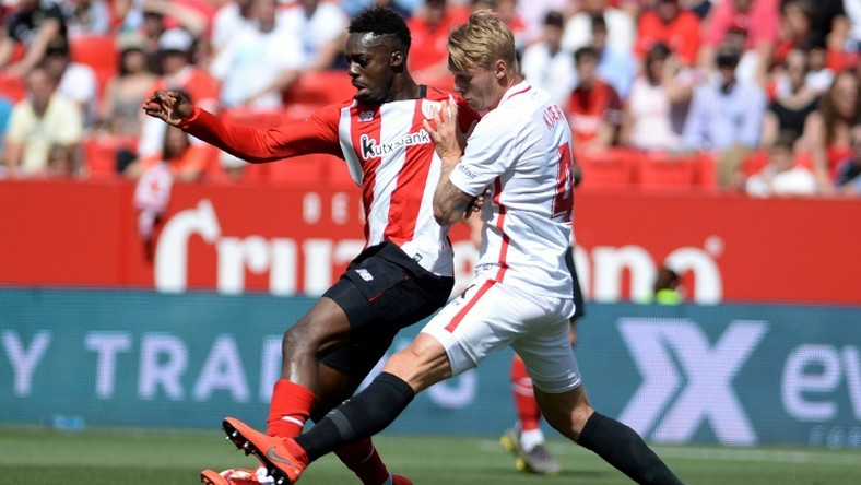 Inaki Williams (left) has signed a new nine-year contract at Athletic Bilbao.