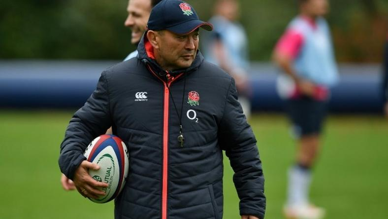 England head coach Eddie Jones takes a team training session on November 24, 2016