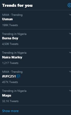 Kamaru Usman tops Twitter Nigeria trends after his win over Jorge Masvidal (Twitter)