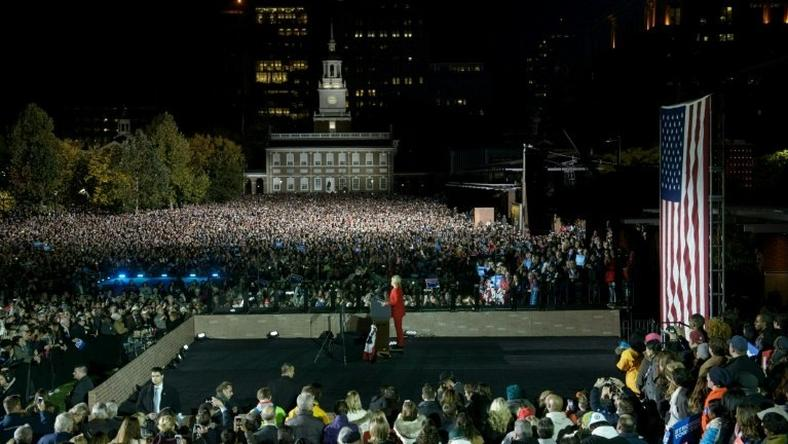 Democratic presidential nominee Hillary Clinton gives a speech during a rally at Independence Mall in Philadelphia, Pennsylvania