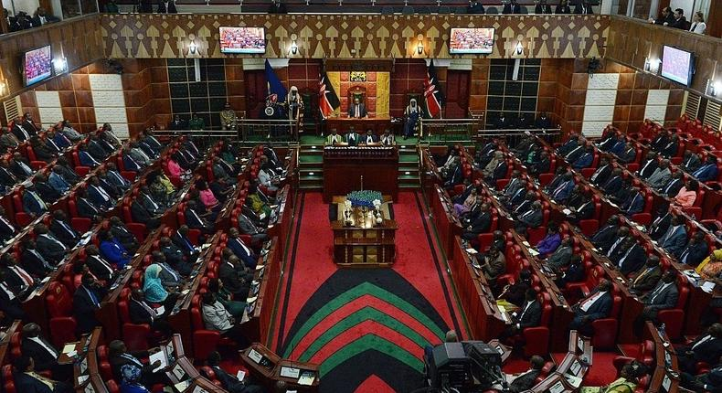 A general view taken on March 26, 2015 in Nairobi shows the Kenyan parliament, as President Uhuru Kenyatta addresses two Houses the Senate and the National Assembly. President Kenyatta's speech comes against the backdrop of rising corruption and insecurity in the country. AFP PHOTO/SIMON MAINA (Photo credit should read SIMON MAINA/AFP via Getty Images)