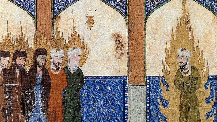 1.Mahomet prowadzi modlitwę z Abrahamem, Jezusem, Mojżeszem i innymi przedstawicielami prorokami religii abrahamowych. Stara perska miniatura - domena publiczna