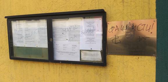 Uvredljivi grafiti na zgradi Ambasade Mađarske