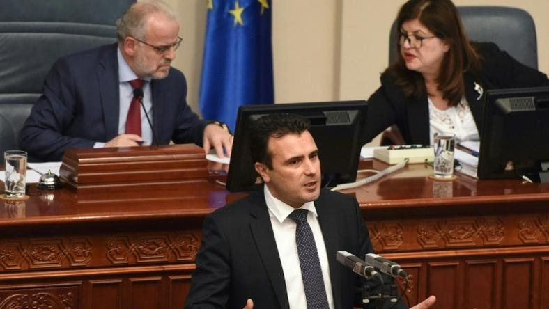 Macedonian Prime Minister Zoran Zaev addressed the parliament in Skopje after the vote to change the country's name