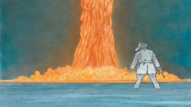 """Fragment okładki komiksu """"Stacja 16""""."""