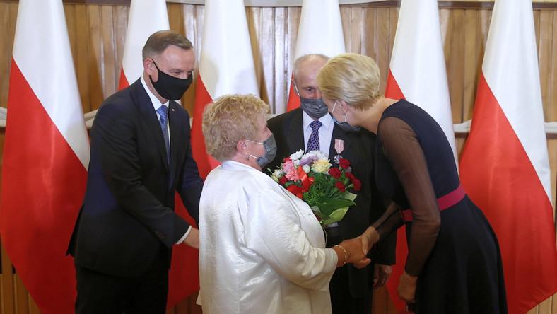 Andrzej Duda podczas uroczystości wręczenia Medali za Długoletnie Pożycie Małżeńskie