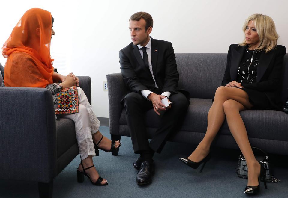 Prezydent Macron i jego żona Brigitte spotkali się z Malalą Yousafzaion w Nowym Jorku