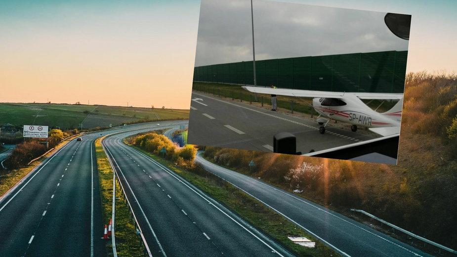 Awaryjne lądowanie awionetki na autostradzie koło Częstochowy
