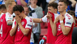 Denmark players were distraught as Christian Eriksen was revived by medics after collapsing Creator: Friedemann Vogel