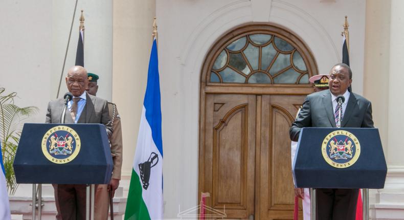 Lesotho's Prime Minister Hon Dr Motsoahae Thomas Thabane and Kenyan President Uhuru Kenyatta at State House