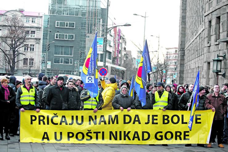 Štrajk pošte Srbije, radnici
