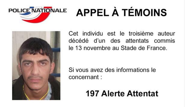 Policja francuska opublikowała zdjęcie trzeciego poszukiwanego zamachowca