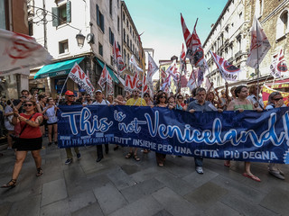 Venetians Protest Against Excessive Tourism And Big Cruises