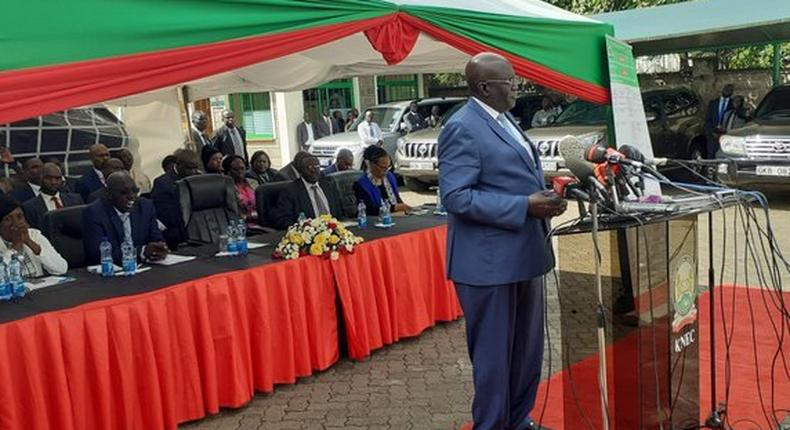 Prof George Magoha durig the release of the 2019 KCPE exams
