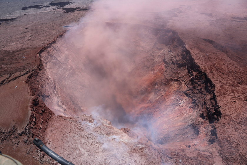 The Kilauea Volcano's crater is seen in this aerial image after the volcano erupted following a seri