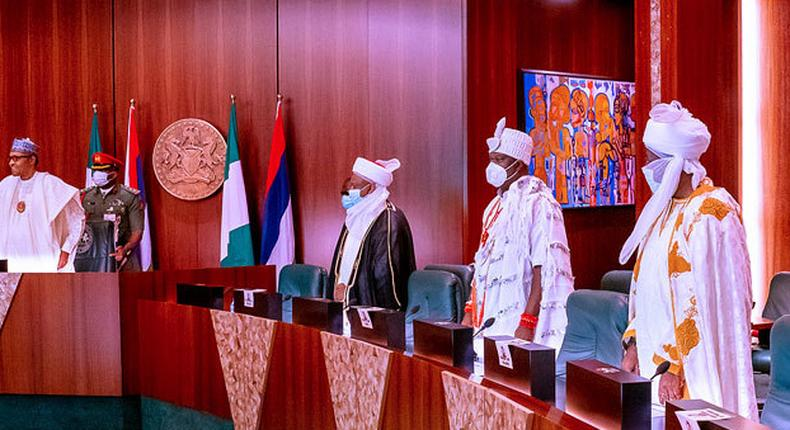 President Muhammadu Buhari meets traditionals rulers at Aso Rock(PREMIUM TIMES)