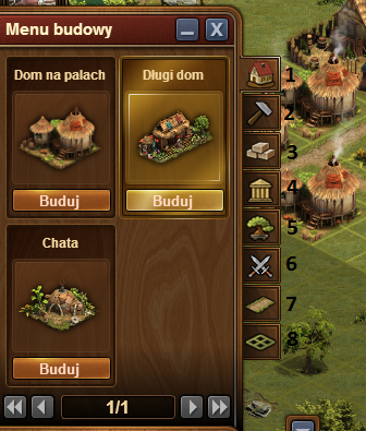 Forge of Empires menu budowy