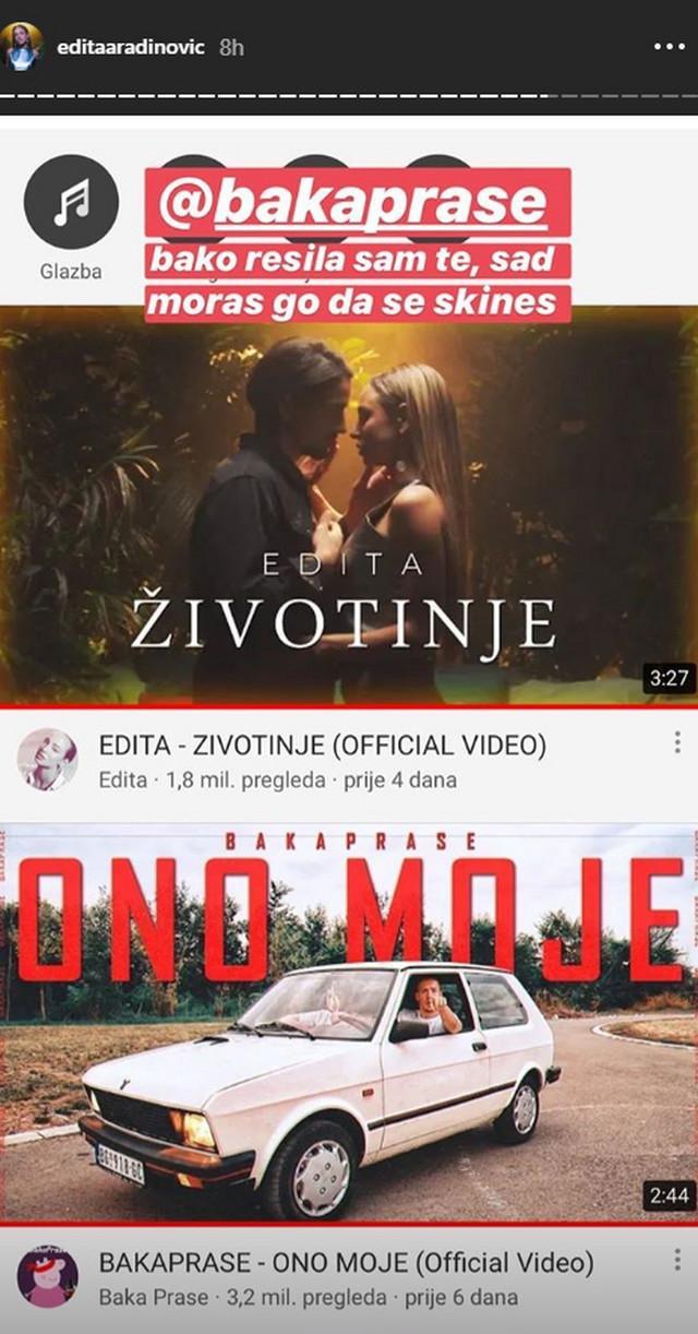 Objava Edite Aradinović na Instagramu
