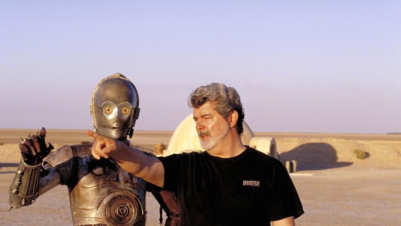 """Anthony Daniels i George Lucas na planie """"Ataku klonów"""""""