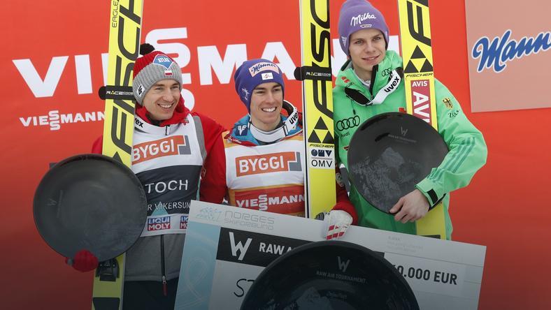 Od lewej: Kamil Stoch, Stefan Kraft i Andreas Wellinger - najlepsi zawodnicy RawAir
