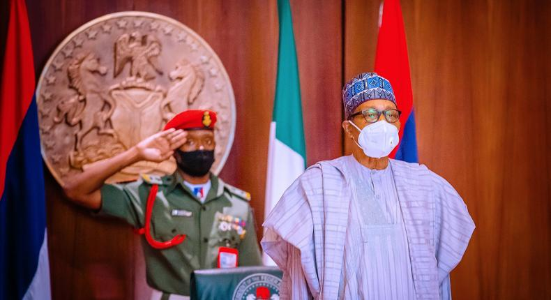 President Muhammadu Buhari presides over the National Security Council meeting, just hours after release of Jangebe schoolgirls. [Presidency]