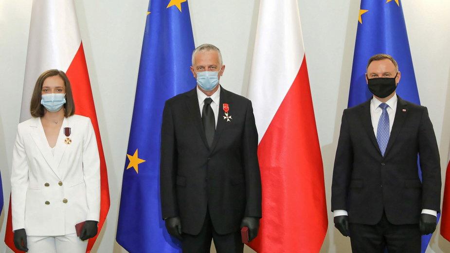 Iga Świątek i jej tata Tomasz zostali uhonorowani przez prezydenta Andrzeja Dudę