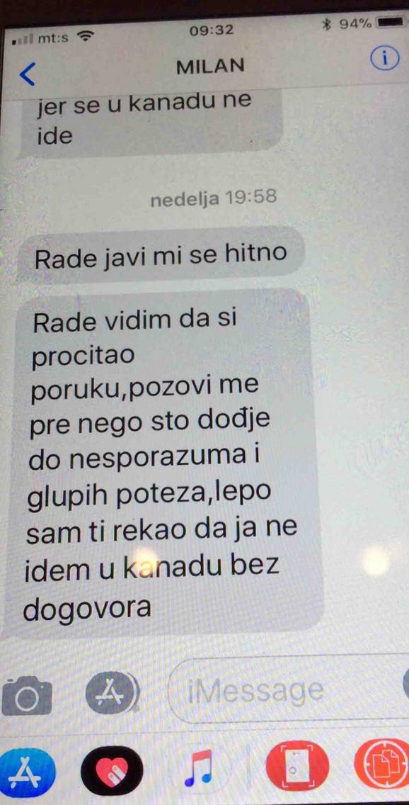 Milanove poruke upućene Radetu