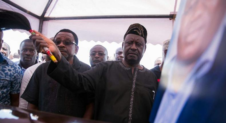File image of Special AU envoy Raila Odinga during the funeral of murdered former IEBC ICT Manager Chris Msando