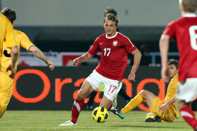 Jakub Rzeźniczak podczas meczu towarzyskiego z Mołdawią