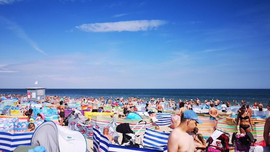 Plaża we Władysławowie, 26 lipca 2020