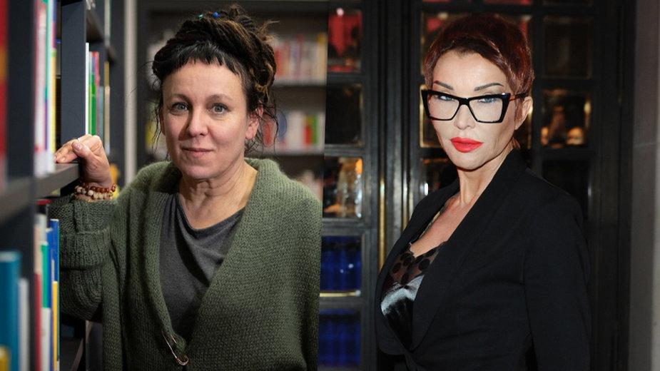 Olga Tokarczuk i Ewa Minge (fot. Friso Gentsch/DPA/AFP//Piotr Andrzejczak/mwmedia)