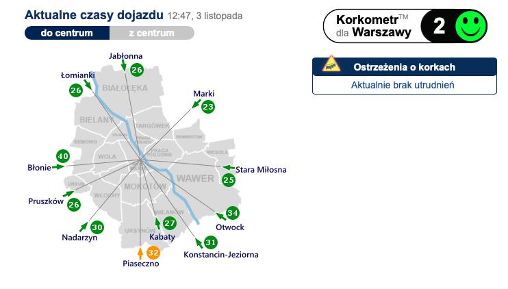 Korkometr dla Warszawy sobota 3 listopada 2018 roku