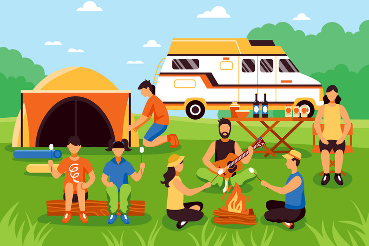 kampovanje stock-vector-camping-and-hiking-composition-with-group-of-young-people-flat-characters-during-outdoor-recreation-555017812