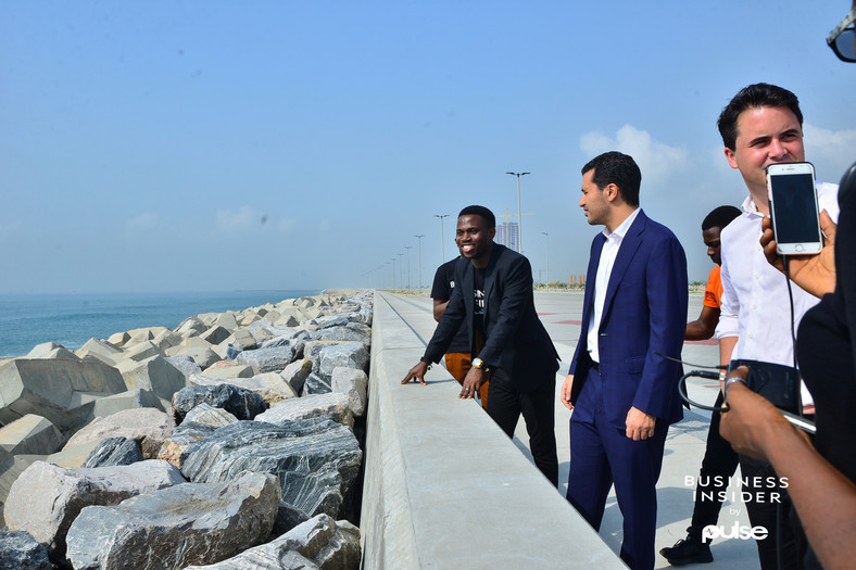 The Business Insider by Pulse team with Ronald Chagoury Jr by the Great Wall of Lagos.