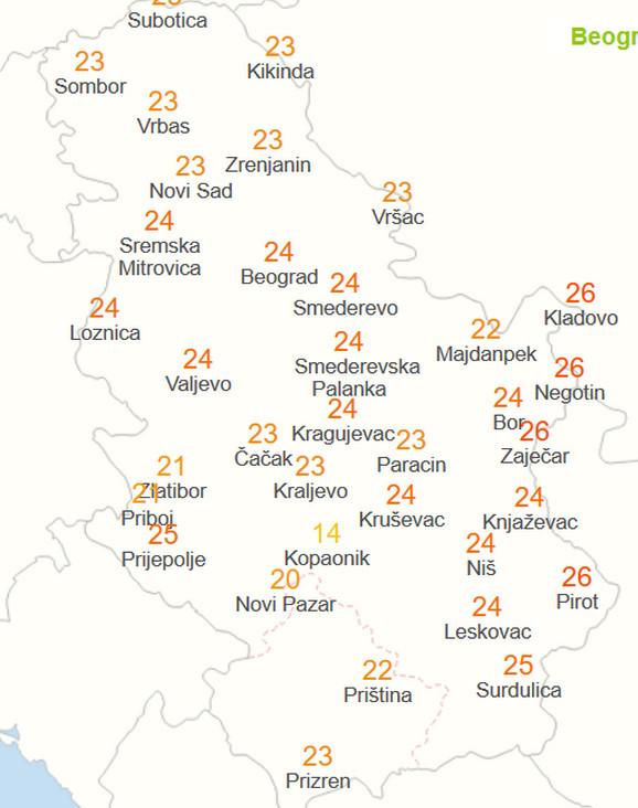 Temperatura tokom današnjeg dana
