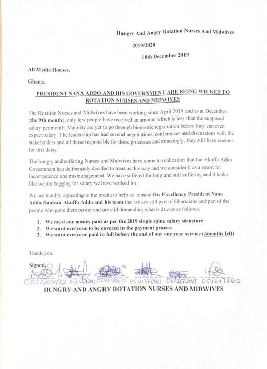 Statement from aggrieved rotation nurses and midwives