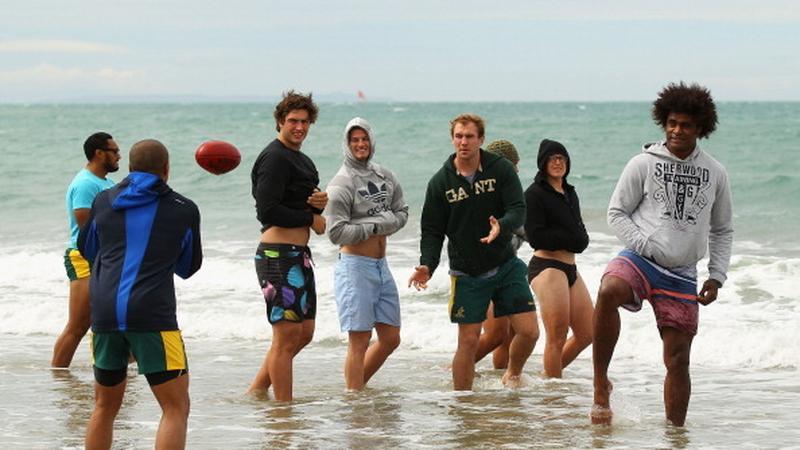 Australijczycy na Takapuna Beach